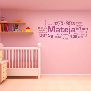 Otroška nalepka Ime in rojstni podatki